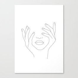 Minimal Line Art Woman with Hands on Face Canvas Print