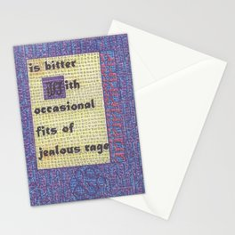 The Weather Today... is Bitter With Occasional Fits of Jealous Rage Stationery Cards