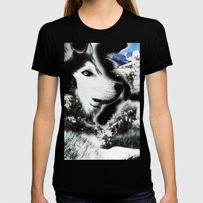 The Husky's Mountain Gaze by Vince Bongiovanni T-shirt