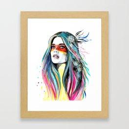 BOHO-GIRL-Feather Framed Art Print