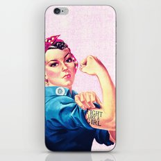 Fight Like A Girl Rosie The Riveter Girly Mod Pink iPhone & iPod Skin