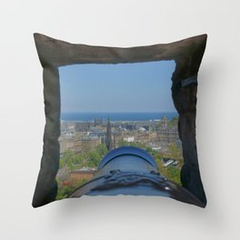 Edinburgh castle city view from Cannon pov (point of view ) Throw Pillow