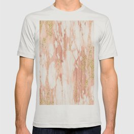 Rose Gold Marble - Rose Gold Yellow Gold Shimmery Metallic Marble T-shirt