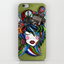 Paris girl in green iPhone Skin