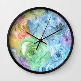 Rainbow Watercolor Bouquet Wall Clock