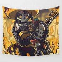 dia de los muertos Wall Tapestries featuring Dia de los Muertos by BlueRidgeMountains