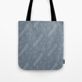 Blue gray white hand painted winter floral berries Tote Bag