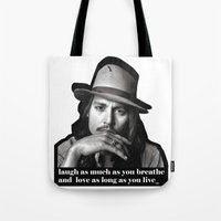 johnny depp Tote Bags featuring johnny depp by sophia derosa