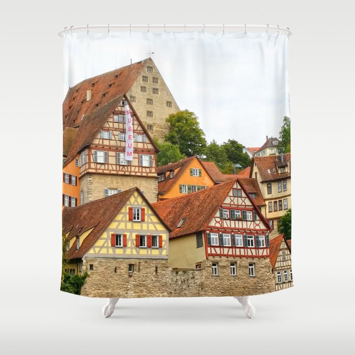 Traditional Medieval German Houses Shower Curtain