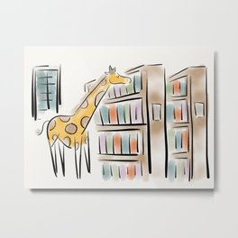 Giraffes in the library Metal Print