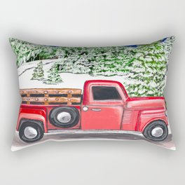 Old Red Farm Truck Winter Rectangular Pillow