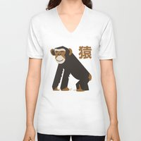 ape V-neck T-shirts featuring APE by Kaleido Designs
