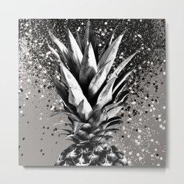 Pineapple Silver Gray Glitter Glam #1 #tropical #fruit #decor #art #society6 Metal Print