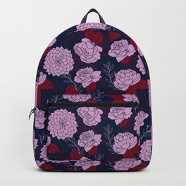 Floral Patten in Navy, Light Orchid, and Burgundy Backpack