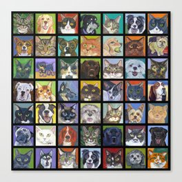 Cats and Dogs in Black Canvas Print