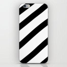 Soft Diagonal Black and White Stripes iPhone Skin
