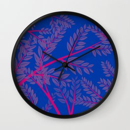 Bisexual Pride Overlapping Simple Leafy Branches Wall Clock
