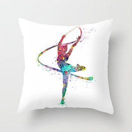 Rhythmic Gymnastics Print Sports Print Watercolor Print Throw Pillow