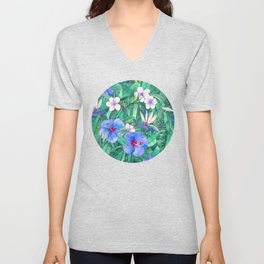 White Bird of Paradise & Blue Hibiscus Tropical Garden Unisex V-Neck