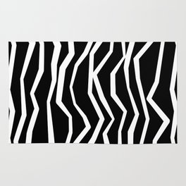 Wavy zig zag lines edgy black and white Rug