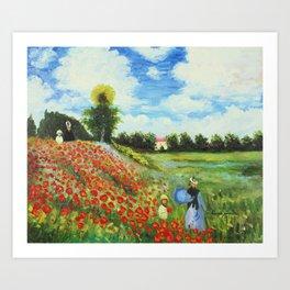 Claude Monet - Poppy Field at Argenteuil Art Print