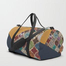 11- Modern Anthropologie Blue & Yellow Boho Artwork Moroccan Art Texture Duffle Bag
