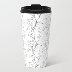 Floral Drawing in black and white Metal Travel Mug