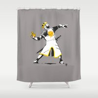 banksy Shower Curtains featuring Banksy Python 1-2-5 by kgullholmen