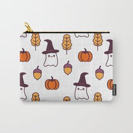 cute cartoon halloween pattern background with ghosts, pumpkins, leaves and acorns Carry-All Pouch
