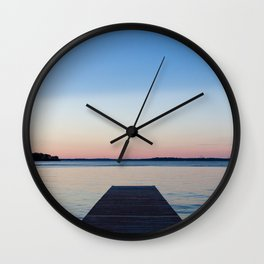 Sunset on the Dock Wall Clock