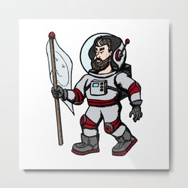 Modern astronaut creative vector illustration. Man with flag in universe. Cosmos space travel on the Metal Print