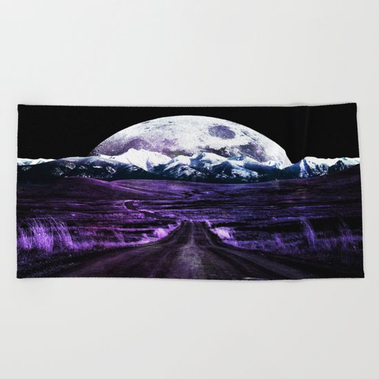 Highway to Eternity (moon mountain) violet Beach Towel