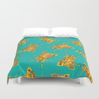 insects Duvet Covers featuring yellow insects by hadas friedland hayun