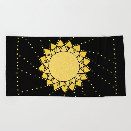 Celestial Swirling Sun Boho Mandala Hand-drawn Illustration on Black Beach Towel