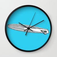 surfboard Wall Clocks featuring surfboard blue by Eyecatchingdesigns