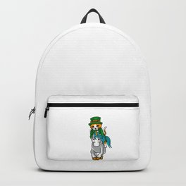 Leprechaun Cat Riding A Unicorn St. Patricks Backpack