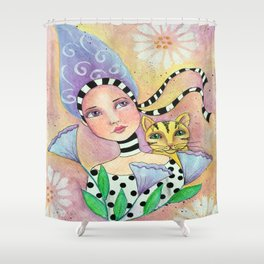 Whimsy Girl with Cat Shower Curtain