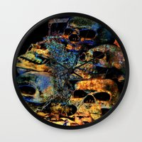 skulls Wall Clocks featuring Skulls By Annie Zeno by Annie Zeno