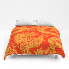 Red and Gold Battling Dragons Comforters