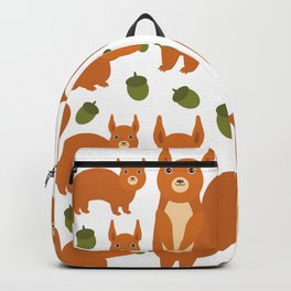 Seamless pattern Set of funny red squirrels with fluffy tail with acorn  on white background Backpack