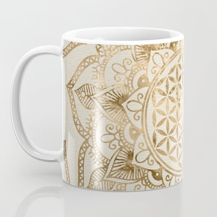 Flower of Life in Lotus - pastel golds and canvas Coffee Mug