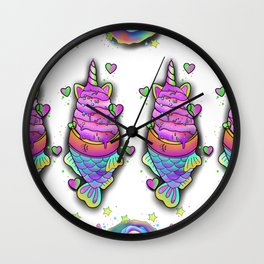 Unicorn Ice cream Rainbow cupcakes Wall Clock