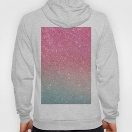 Modern neon pink teal faux glitter ombre patern Hoody