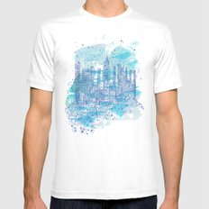 Water city White Mens Fitted Tee MEDIUM