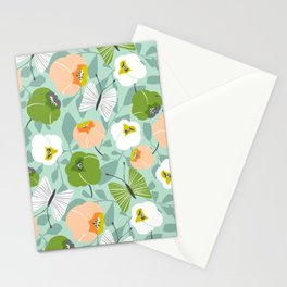 Butterfly Blossom Floral - Sage Green Stationery Cards