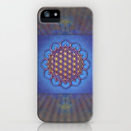 Flower Of Live Lotus - Golden Shine On Blue Beauty II iPhone Case