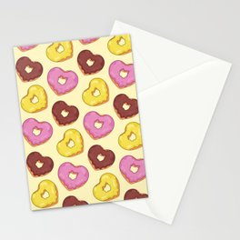 Heart Donuts Pattern Stationery Cards