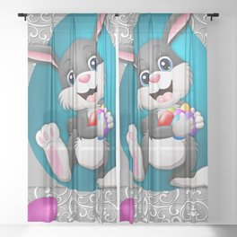 Illustration celebration easter Sheer Curtain