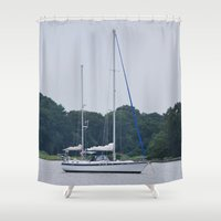 sailboat Shower Curtains featuring Sailboat by Sarah Shanely Photography
