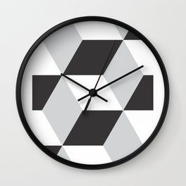 Cubism Black and White Wall Clock